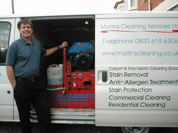 Martin Smith displaying the Truckmount carpet cleaning machine